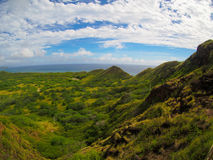 Vista da caminhada Diamond Head Crater Waikiki Oahu Havaí imagem de stock