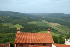 Vista da casa com telhados vermelhos e o vale Imagem de Stock