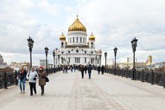 Vista da catedral de Cristo o salvador, Moscou Foto de Stock