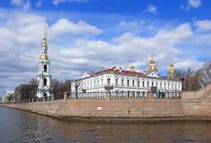 Vista da catedral de Nikolsky no primeiro de maio em St Petersburg Fotos de Stock Royalty Free