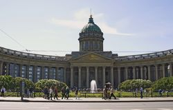 Vista da catedral do ícone de Kazan na cidade de St Petersburg, Rússia Imagem de Stock
