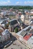 Vista da catedral latino em Lviv, Ucrânia Imagens de Stock Royalty Free