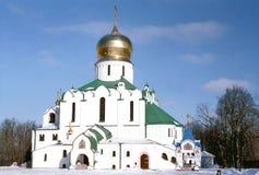 Vista da catedral russian no inverno imagens de stock royalty free