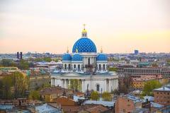 Vista da catedral da trindade na manhã em St Petersburg, Rússia imagens de stock royalty free