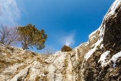 Vista da caverna do Três-olho em Ah-petri em Crimeia imagens de stock