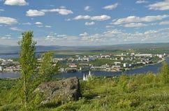 Vista da cidade da altura da montanha Poazuayvench Foto de Stock Royalty Free