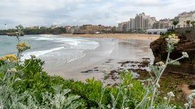 Vista da cidade de Biarritz pelo Oceano Atlântico Fotos de Stock Royalty Free