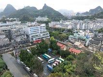 Vista da cidade de Guilin do monte solitário da beleza Imagem de Stock Royalty Free