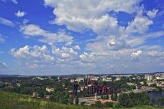 Vista da cidade de Nizhny Tagil da parte superior da montanha Imagem de Stock