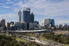 Vista da cidade de Perth, Austrália Ocidental da vigia do Parque do rei Fotografia de Stock Royalty Free