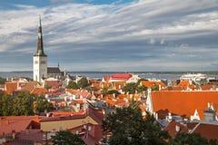 Vista da cidade de Tallinn, do mar Báltico e de St velhos Olaf em um dia de verão, Estônia Imagens de Stock