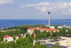 Vista da cidade de uma altura imagens de stock