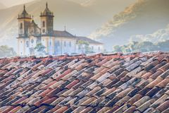 Vista da cidade do patrimônio mundial do unesco de Ouro Preto em Minas Gerais Brazil Fotografia de Stock