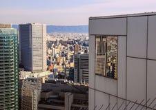 Vista da cidade do telhado de um arranha-céus em Osaka, Japão Curso sobre Japão Imagem de Stock