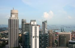 Vista da cidade e do porto de Singapore Foto de Stock
