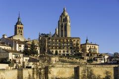 Vista da cidade da Espanha de Segovia foto de stock royalty free