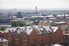 Vista da cidade europeia velha da altura do voo do pássaro St Petersburg, Rússia, Europa do Norte Fotos de Stock Royalty Free