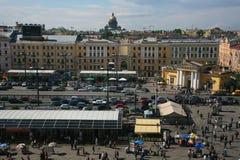 Vista da cidade europeia velha da altura do voo do pássaro St Petersburg, Rússia, Europa do Norte Fotografia de Stock Royalty Free