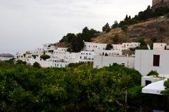 Vista da cidade grega no Rodes imagens de stock
