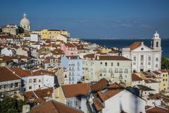 Vista da cidade, Lisboa, Portugal foto de stock