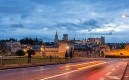 Vista da cidade medieval Avignon na manhã, França Fotos de Stock Royalty Free
