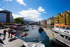 Vista da cidade norueguesa famosa Alesund Fotos de Stock