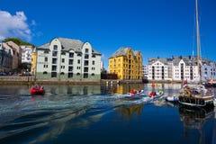 Vista da cidade norueguesa famosa Alesund Imagem de Stock