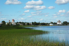 Vista da cidade russian antiga Kargopol Imagem de Stock