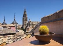 Vista da cidade velha de Toledo, Espanha fotos de stock