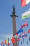 Vista da coluna de Alexanders na cidade de St Petersburg, Rússia imagens de stock
