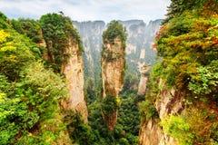 Vista da coluna do arenito de quartzo a montanha da aleluia do Avatar imagem de stock royalty free