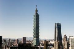 Vista da construção do World Trade Center de Taipei 101 Fotos de Stock Royalty Free