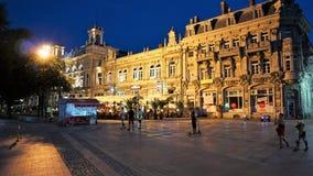 Vista da construção lucrativa, truque da noite, Bulgária imagem de stock royalty free