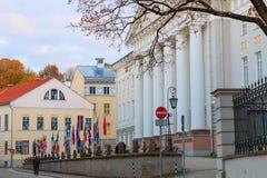 Vista da construção principal da universidade de Tartu Imagens de Stock
