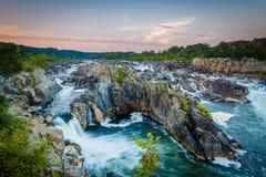 Vista da corredeira no Rio Potomac no por do sol, no Pa de Great Falls Imagens de Stock