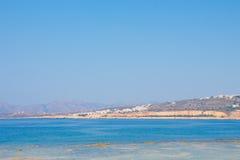 Vista da costa de mar em Chania, ilha da Creta, Grécia Imagem de Stock Royalty Free