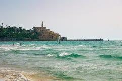 Vista da costa do mar Mediterrâneo em Jaffa velho, Tel Aviv, Israel Fotos de Stock Royalty Free