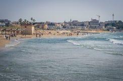 Vista da costa do mar Mediterrâneo em Jaffa velho, Tel Aviv, Israel Fotografia de Stock Royalty Free