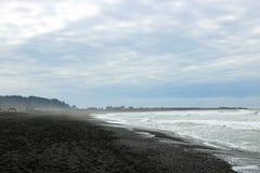 Vista da Costa do Pacífico na manhã nevoenta adiantada fotografia de stock royalty free