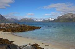 Vista da costa pequena sobre Gimsoystraumen, Lofoten Fotografia de Stock Royalty Free