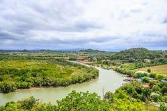 Vista da curva do rio da parte superior Imagens de Stock
