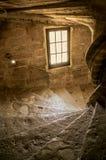 Vista da escadaria de pedra com luz dramática no castelo de Lourmarin fotos de stock
