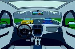 Vista da estrada da ilustração interior do vetor do carro Imagens de Stock