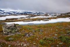 Vista da estrada nacional 55 Sognefjellsvegen do turista no wea enevoado Foto de Stock Royalty Free
