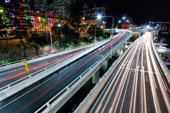 Vista da estrada pacífica de Victoria Bridge, Brisbane Imagem de Stock Royalty Free