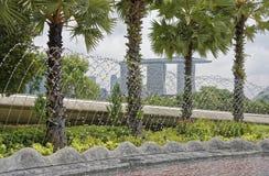 Vista da fonte em Marina Barrage fotografia de stock