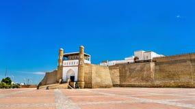 Vista da fortaleza da arca em Bukhara, Usbequistão fotos de stock royalty free