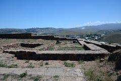 Vista da fortaleza de Erebuni, com as paredes paertially preservadas Fotografia de Stock