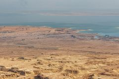 Vista da fortaleza de Masada, parque nacional, Judea, Israel, imagem de stock royalty free