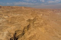 Vista da fortaleza de Masada, parque nacional, Judea, Israel, imagens de stock royalty free